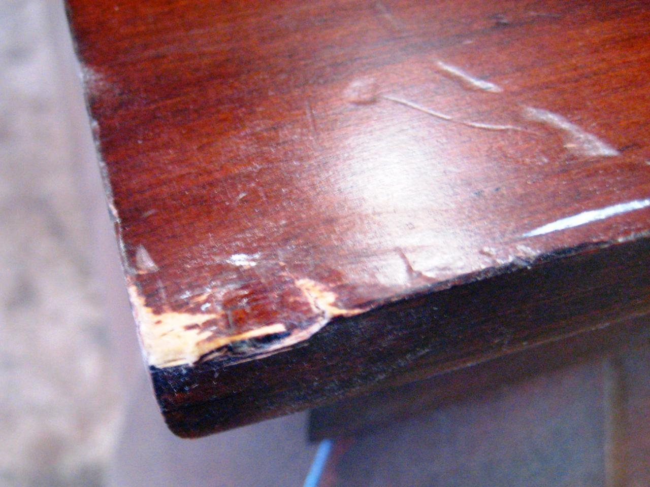 How to paint and stencil an old wood table how tos diy for Wood floor dent repair