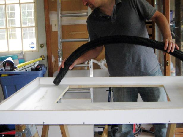 The bottom of the mold will be the top of the countertop, so it's important the concrete sets on a debris-free surface.