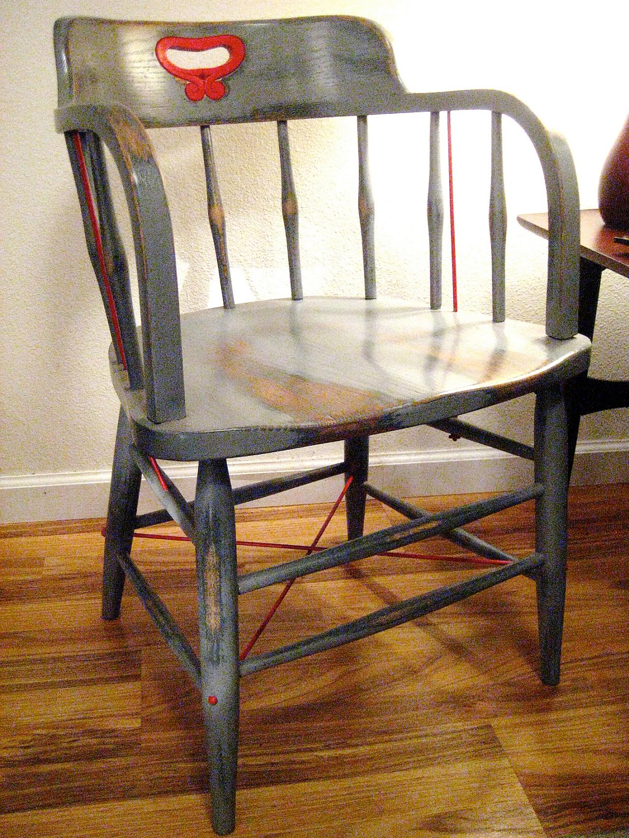 Completed Chair Detail. How to Paint Wood Furniture With an Aged Look   how tos   DIY