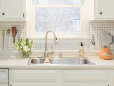 White Kitchen With Pegboard Backsplash