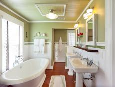 Contemporary Double Vanity Master Bathroom With Soaking Tub
