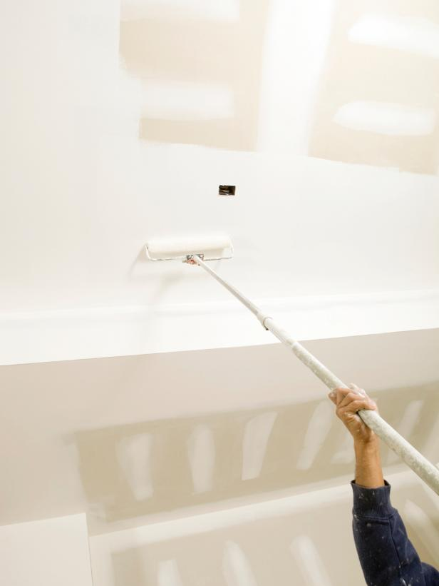 Painting Drywall With Roller And Extension Pole