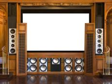 Media Room With Antique Wood And Surround Sound System