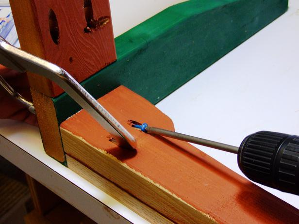 Attach the braces to your bench legs by using pocket hole screws to secure the seat.