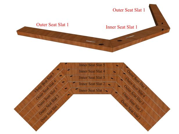Position the outer seat slats flush with the inner seat flat according to the diagram.