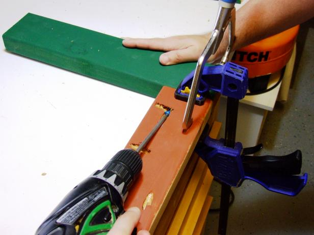 "Position an end apron flush against two legs and attach using glue and 2-1/2"" pocket-hole screws."
