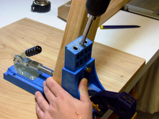 Set the pocket-hole jig and drill bit for drilling into 1-1/2-inch stock.