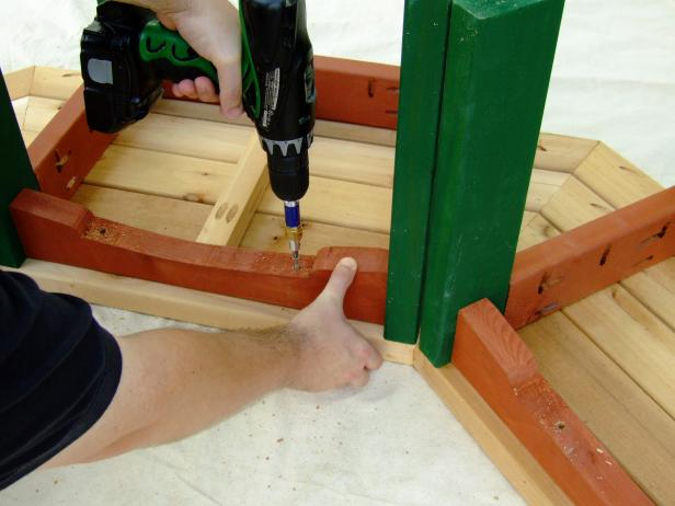 Attach pieces of side trim to the bench seat using a drill.