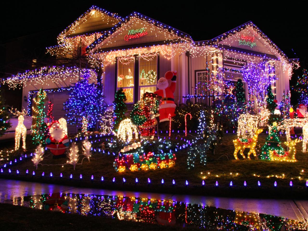 eye popping neon christmas light display nontraditional christmas ...