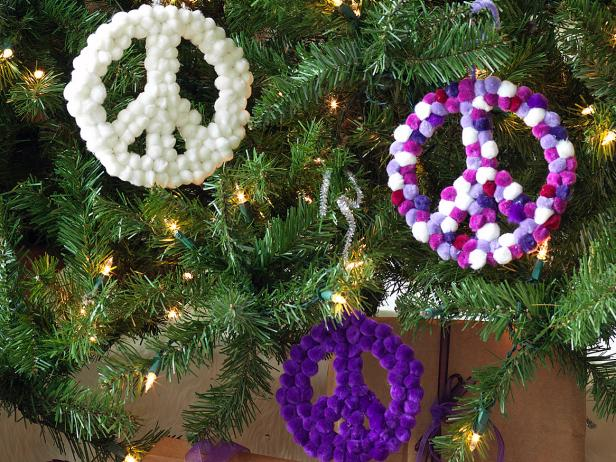 Christmas Peace Sign Ornaments