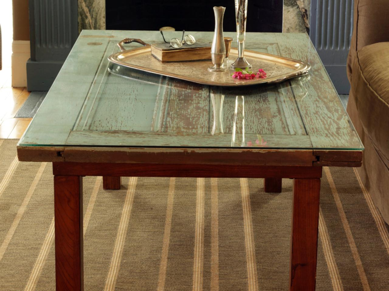 Old Coffee Table Makeovers How To Repurpose A Door Into A Coffee Table How Tos Diy