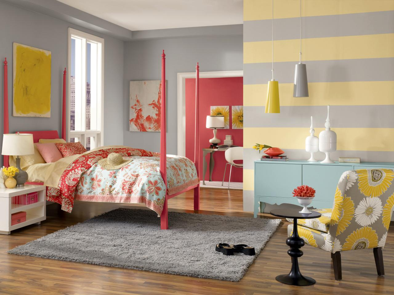 creating horizontal stripes - Diy Bedroom Painting Ideas