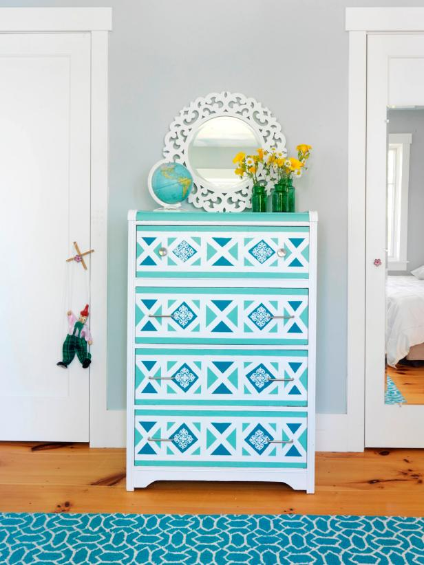 CI Susan Teare geometric dresser s3x4. How to Paint a Geometric Design on a Dresser   how tos   DIY