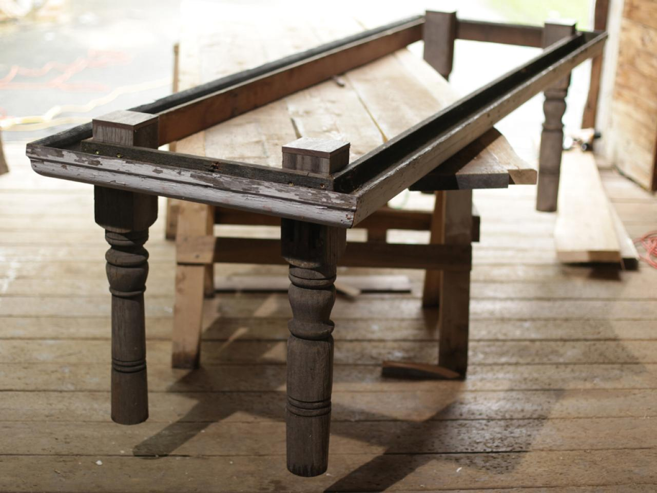 Attach Posts to Gutters. How to Build a Reclaimed Wood Dining Table   how tos   DIY