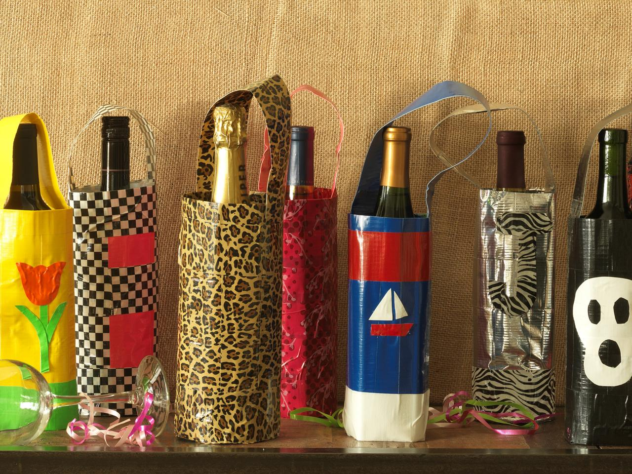 How to make gift bags out of duct tape diy for Diy wine bottle gifts
