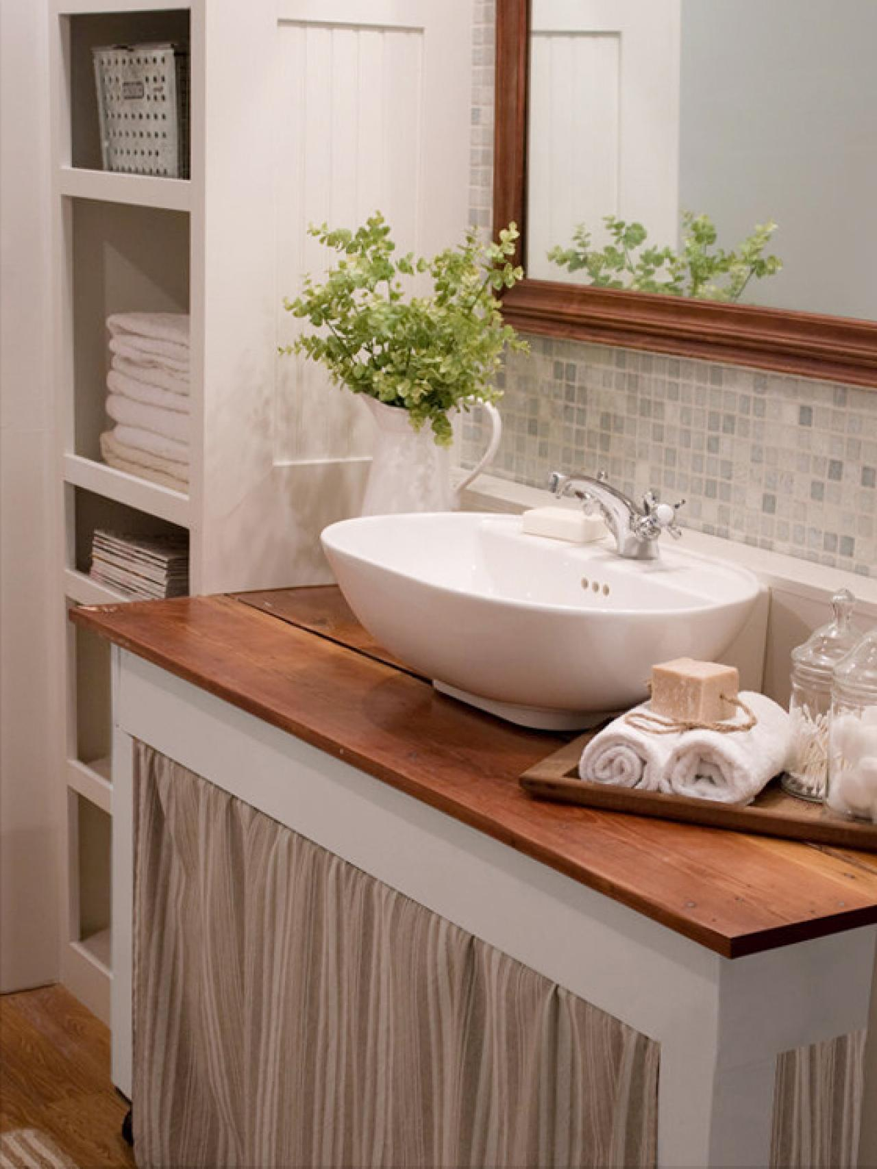 Curtain call a sink skirt is a smart way to hide clutter for Diy bathroom ideas for small spaces