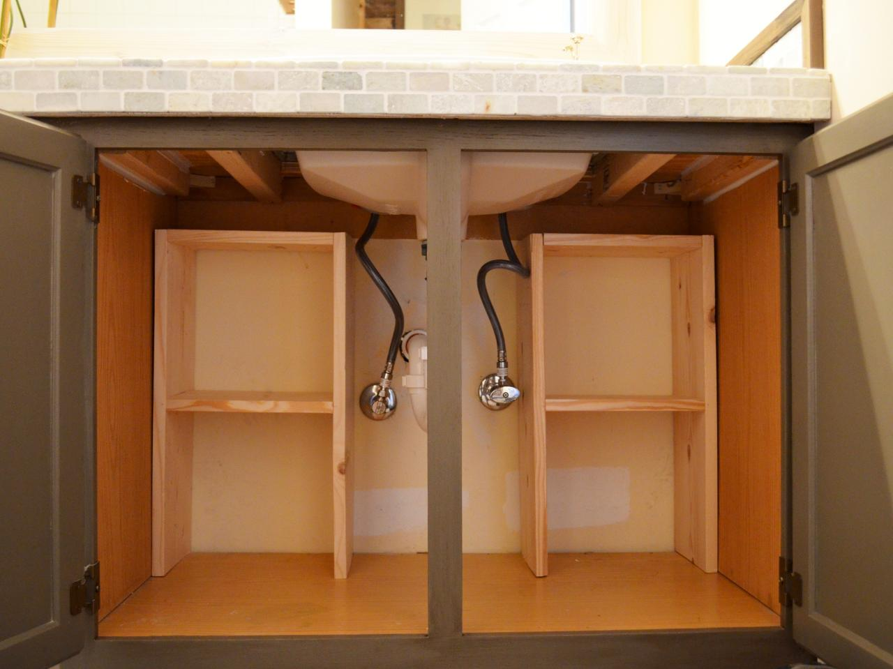 A step by step guide for creating storage under the sink Diy under counter storage
