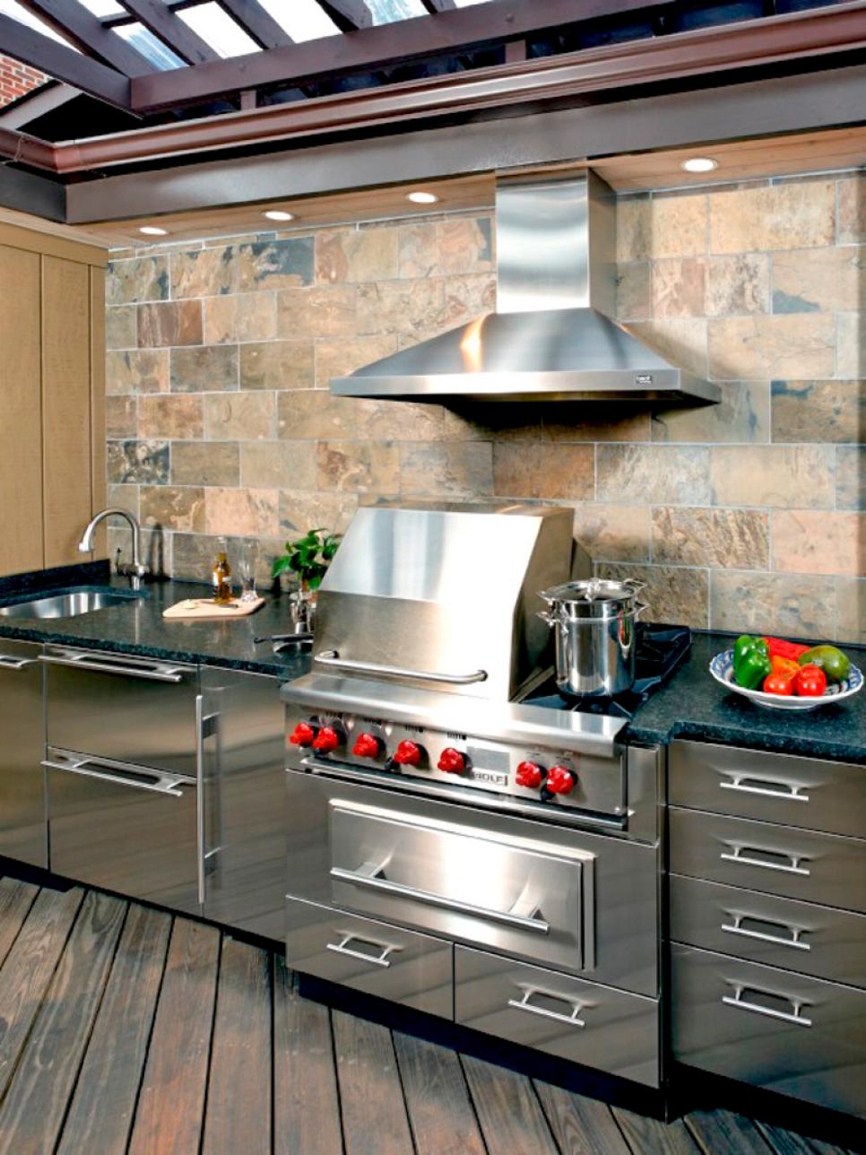 Outdoor kitchen ideas diy for Stainless outdoor kitchen