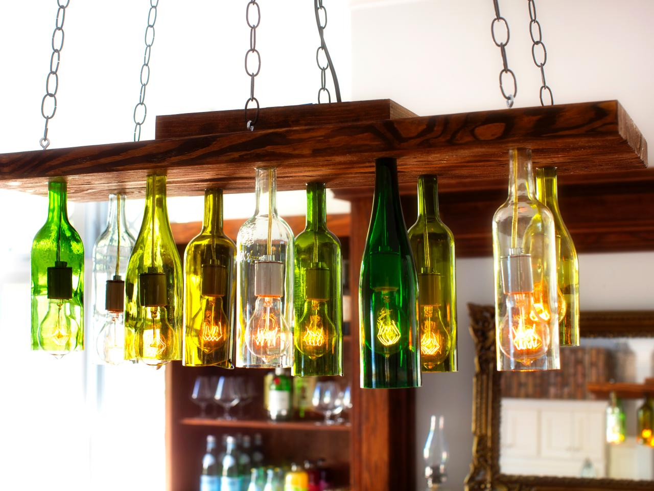 How to make a chandelier from old wine bottles how tos diy for How to make a wine tree