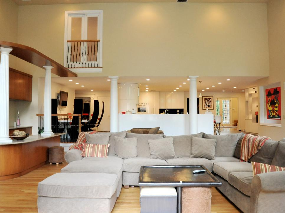 Living Room Renovation Before And After rev run's renovation: a great room conversion | rev run's