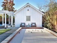 Bocce Ball Court in Backyard with Pool and Kitchen