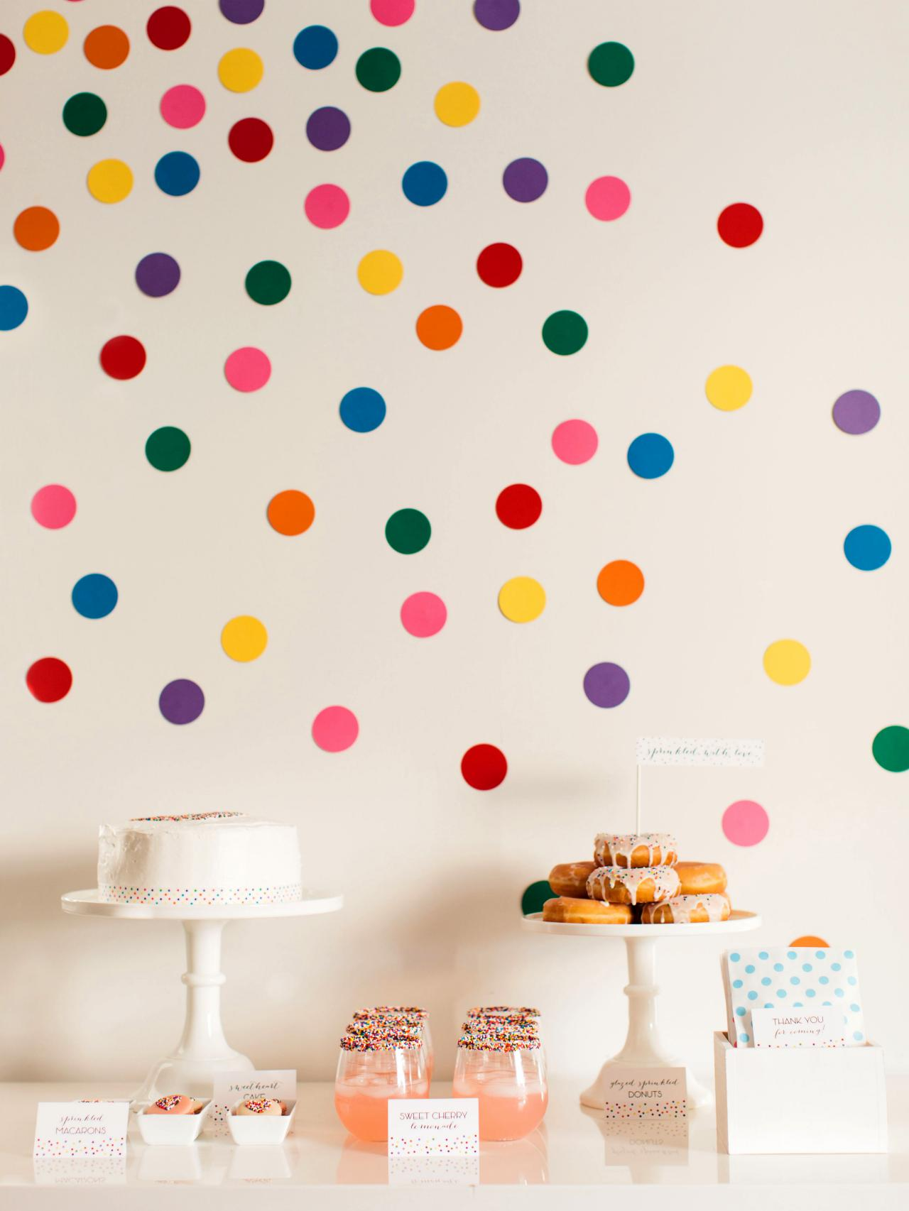 diy confetti wall dots for sprinkles baby shower how tos