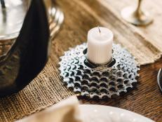 Gear tabletop candle votive