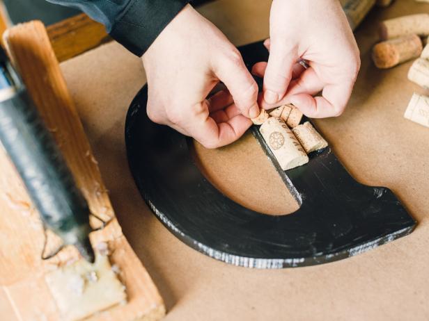 Wine Cork Varsity Letter Step 3,  Glue cork pieces