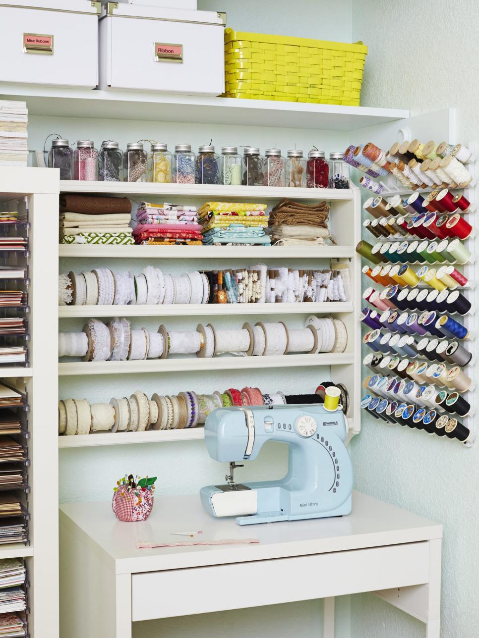 12 creative craft or sewing room storage solutions diy. Black Bedroom Furniture Sets. Home Design Ideas