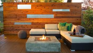 Yard Crashers: Fire Pit Set In Redwood Deck
