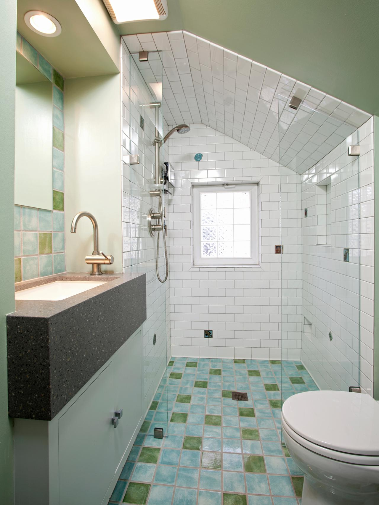 bathroom with no threshold shower