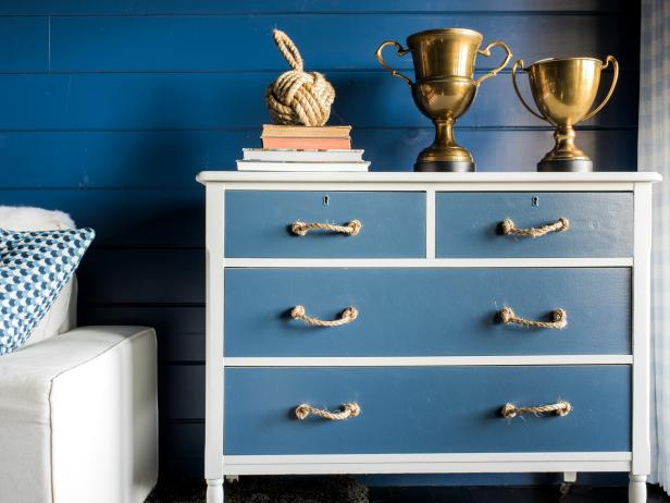 Using Two Shades Of Paint And A Roll Sisal Rope Transform Humdrum Wooden Dresser Into Masculine Masterpiece For Boyâ S Room