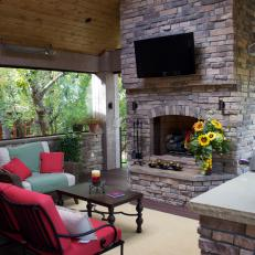Treetop Deck with Stone Outdoor Fireplace
