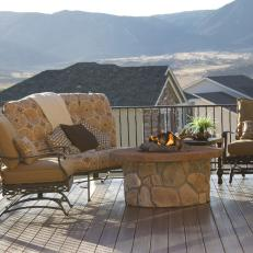 Fire Pit Deck Seating with Amazing Views