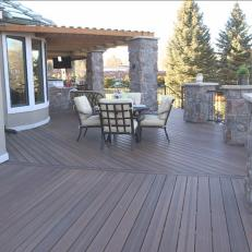 Wide Wood Deck with Stone Columns