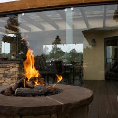 Custom Fire Pit and Sliding Glass Wall