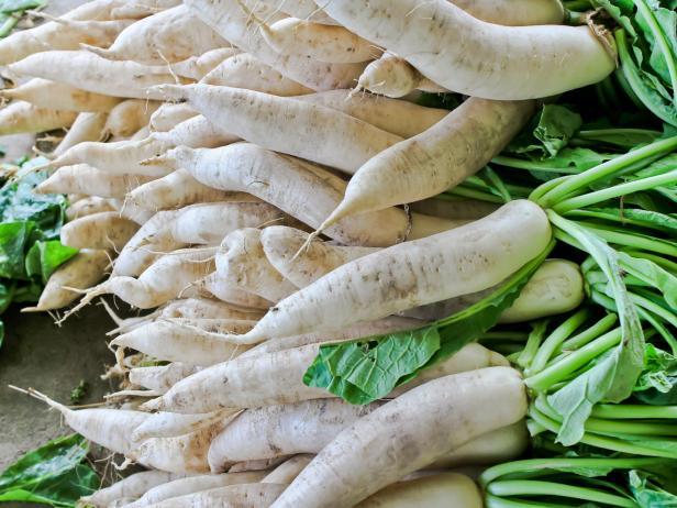 Daikon radish for sale in market.