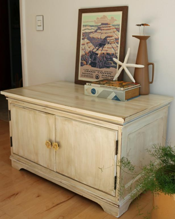 a cabinet distressed with paint and stain so as to be rustic and vintagelike - Cabinet Stain
