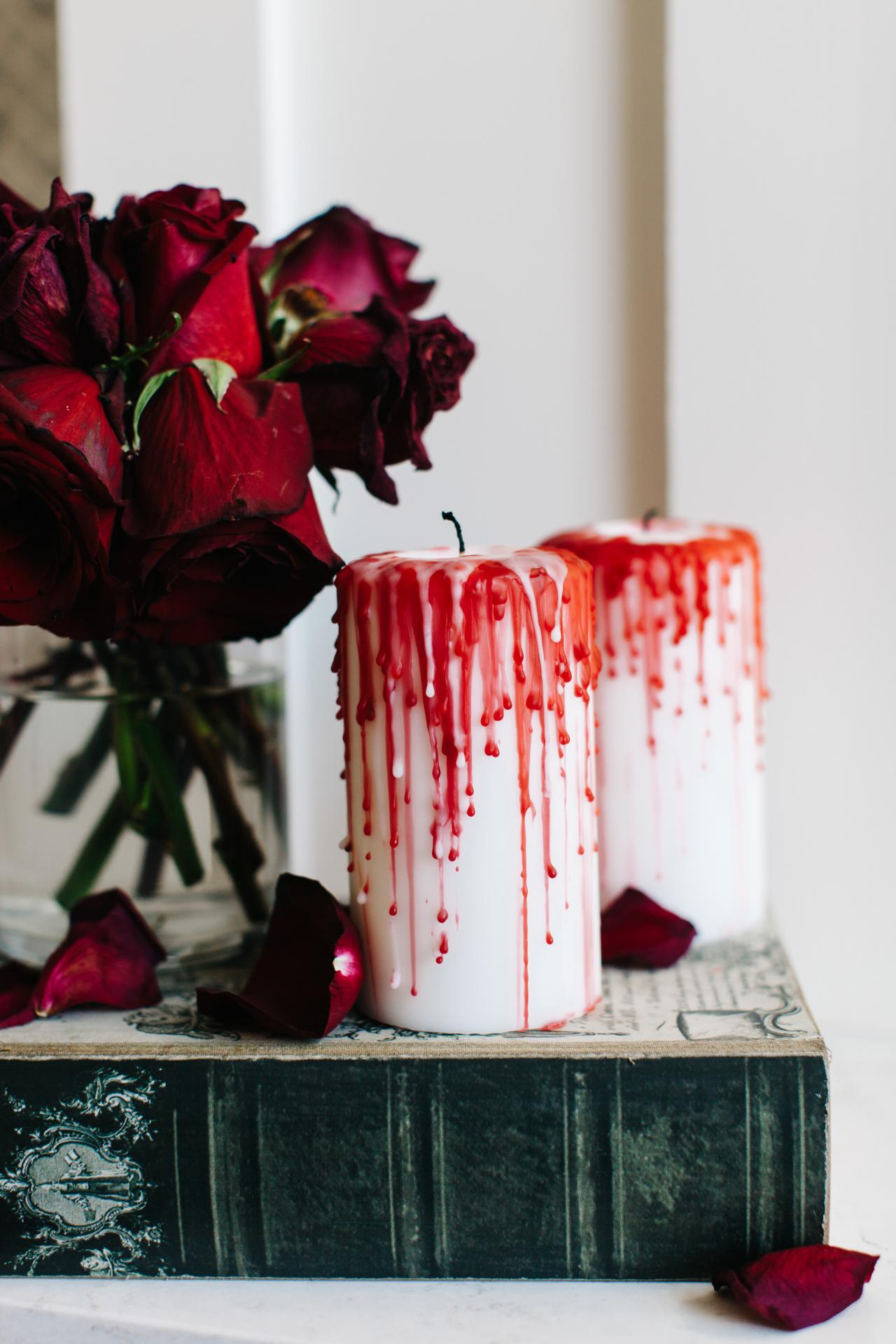 how to make halloween candles dripping with blood - Bloody Halloween Decorations