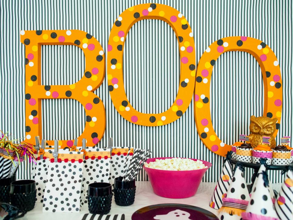 step 2 washi tape polka dots - Homemade Halloween Party Decorations