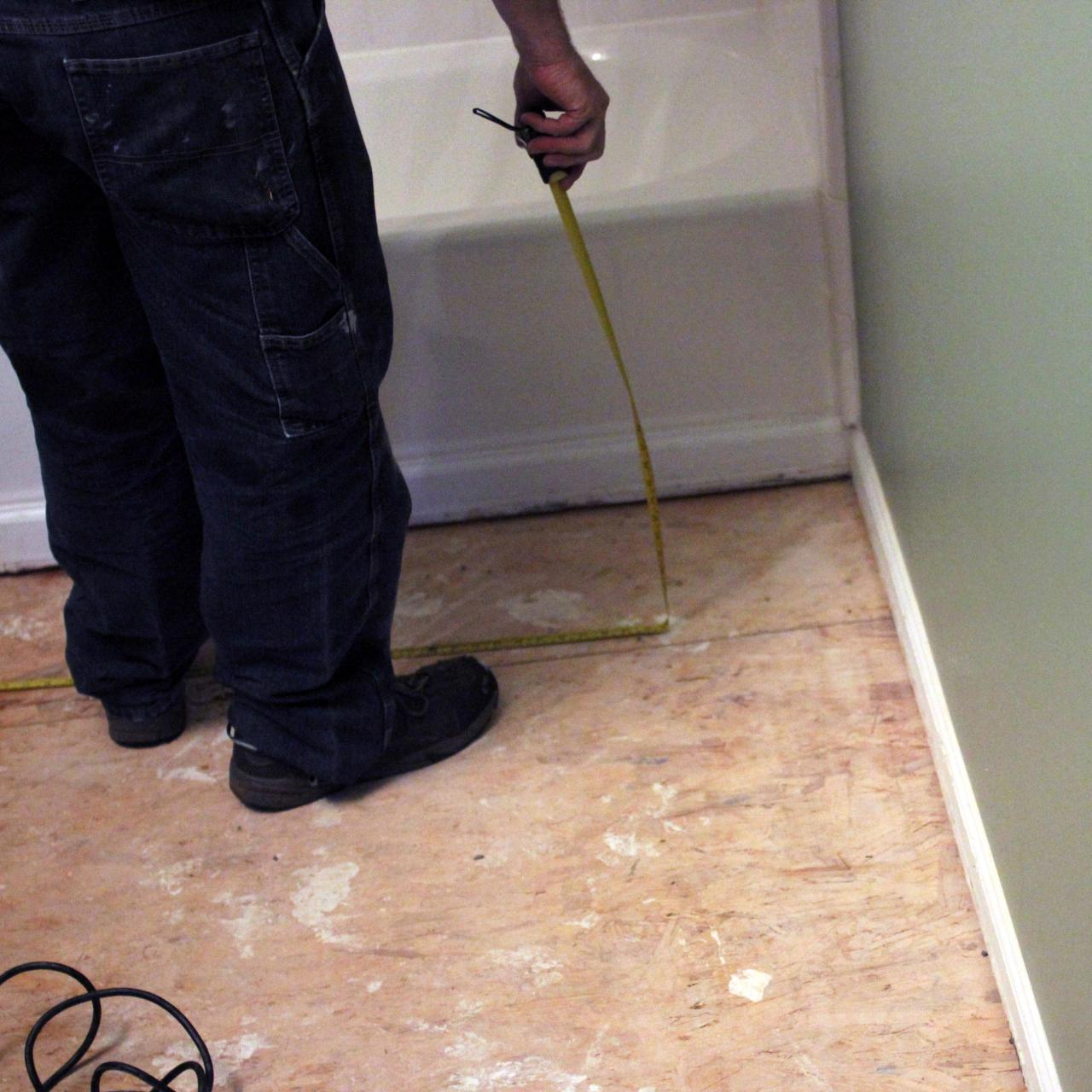 How to install bathroom floor tile how tos diy step 1 doublecrazyfo Choice Image