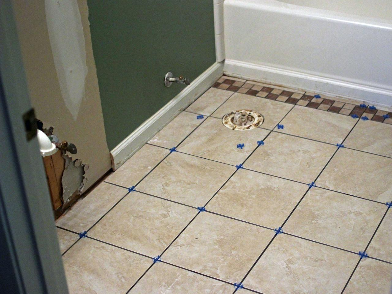 How to install bathroom floor tile how tos diy Images of bathroom tile floors