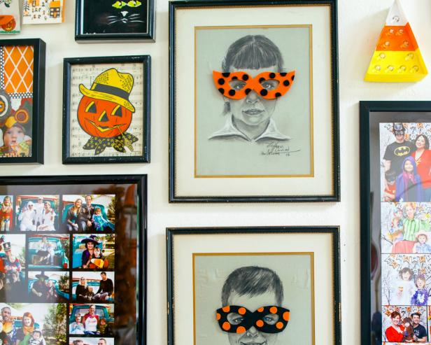 halloween gallery wall decor hallowen walljpg materials ci chelsea laine francis halloween gallery wall masksjpgrendhgtvcom