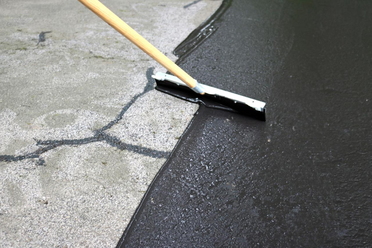 How to fix cracks in a driveway and apply a coat of for What can i do to my concrete floor