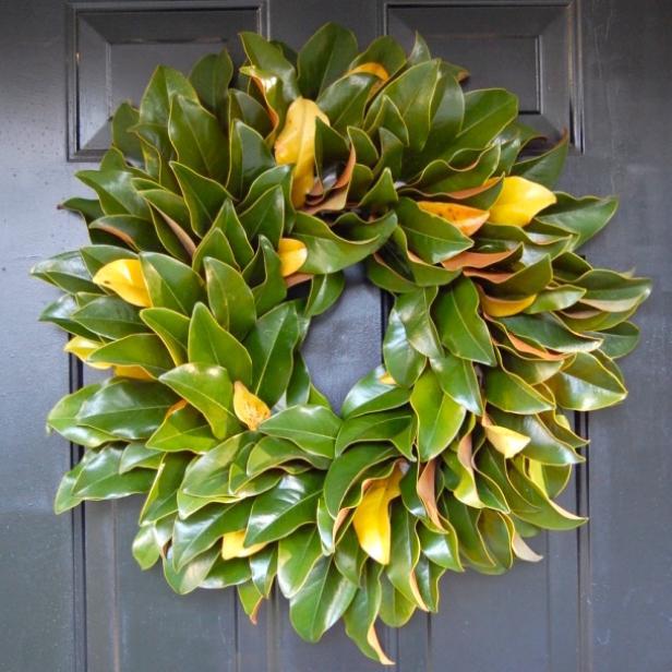 DIY Fresh Magnolia Wreath for Front Door