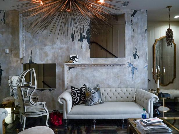 Glam Living Room With Metallic Accents