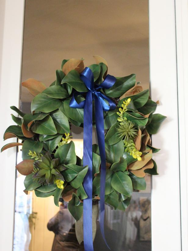 Magnolia Wreath With Succulents