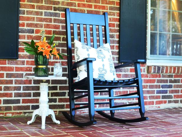 Upcycled Vintage Piano Stool Serves as a Side Table for an Outdoor Space