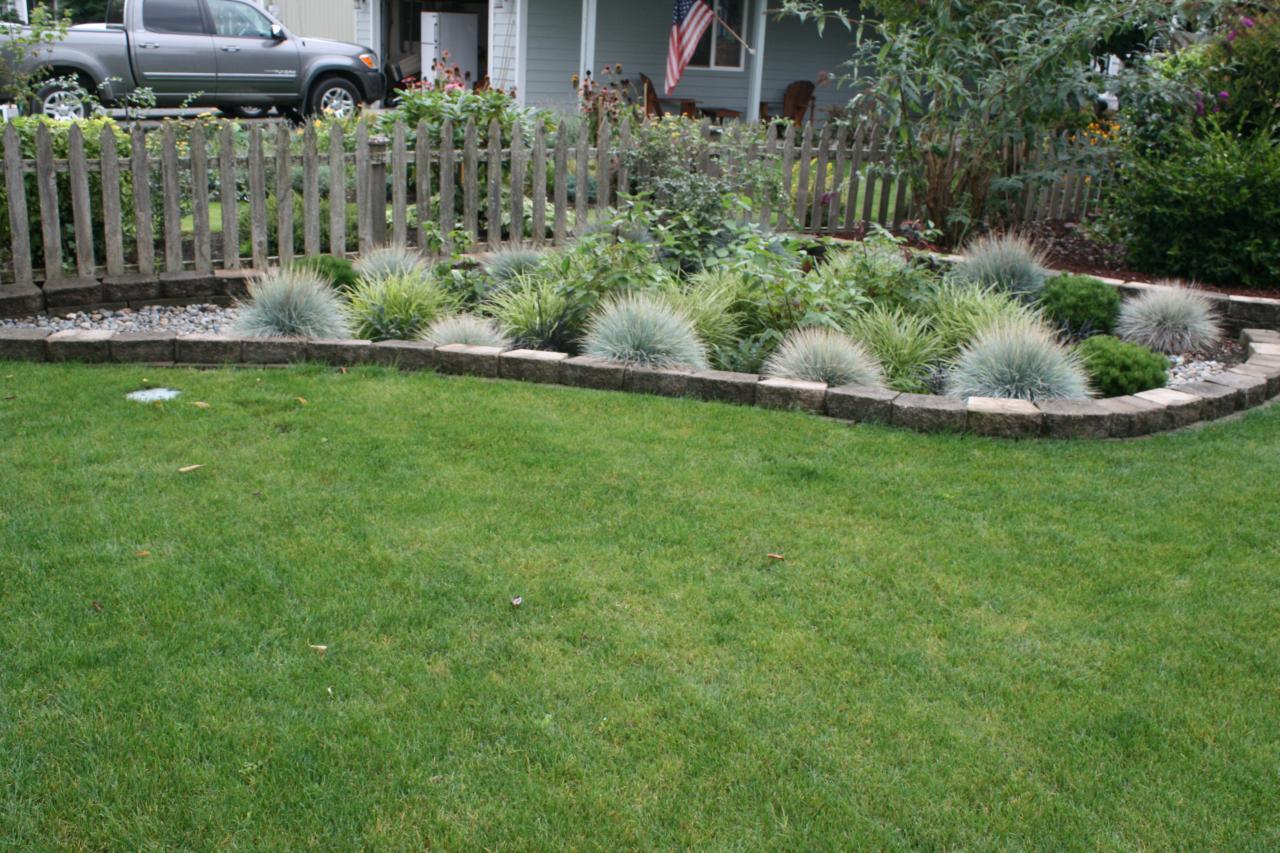 Garden Edging Blocks Masters : Block edging around rain garden formal gives a