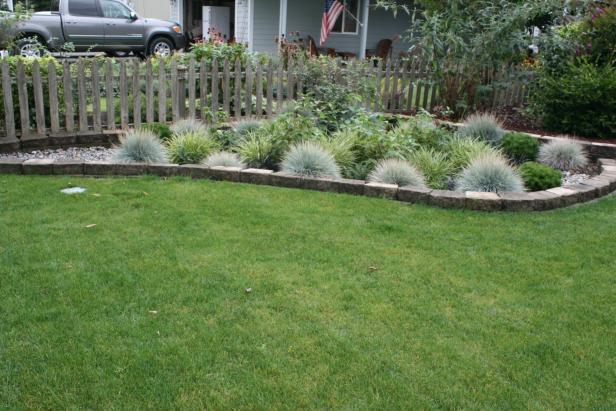 Block Edging Around Rain Garden